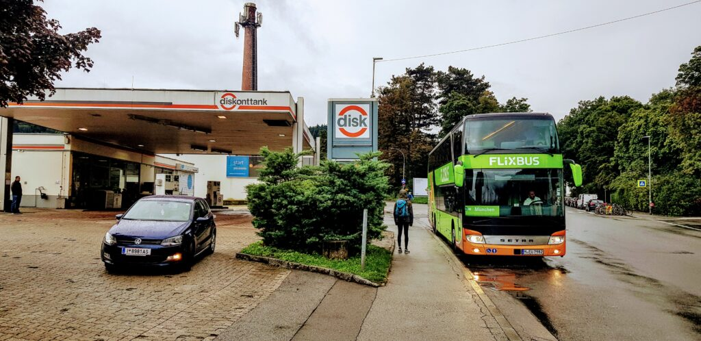 The Flixbus interchange in Innsbruck Austria while travelling by bus to Italy