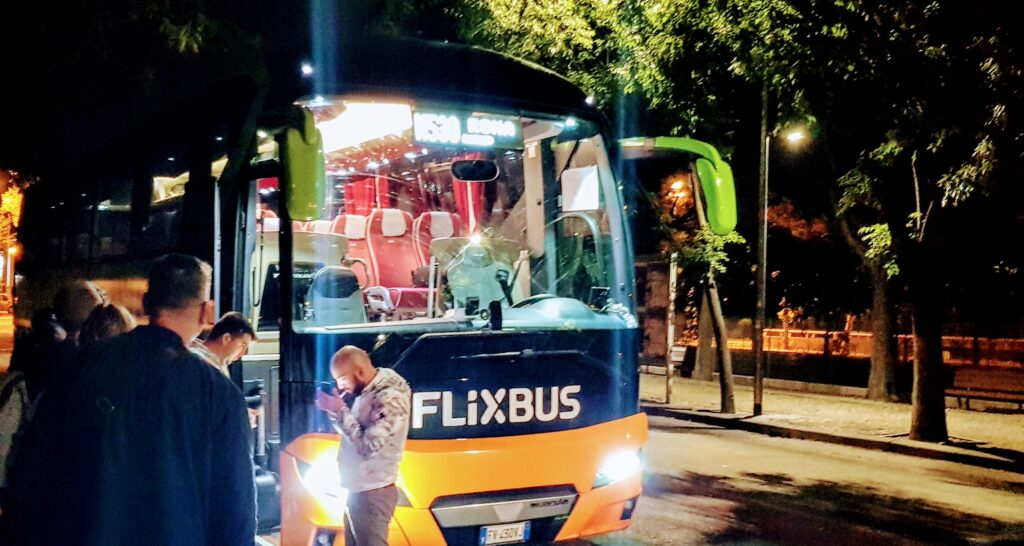 travelling by bus in Milan at a Flixbus interchange