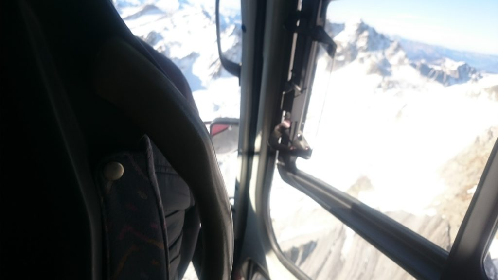 Looking down over Les Arcs from a Helicopter to Mt Blanc