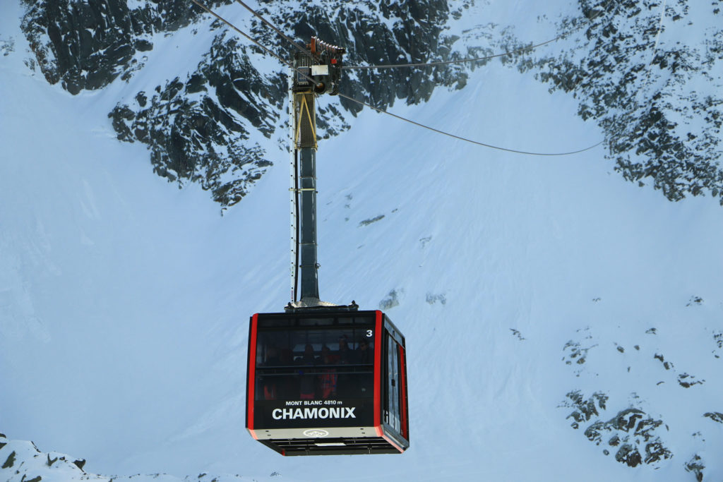 The second stage of the Aiguille du Midi cable car at Chamonix France