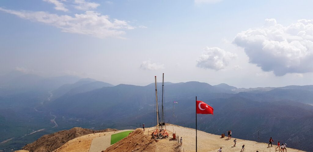 Dramatic views over the Toros mountains and Mediterranean sea from the Olympos cable car