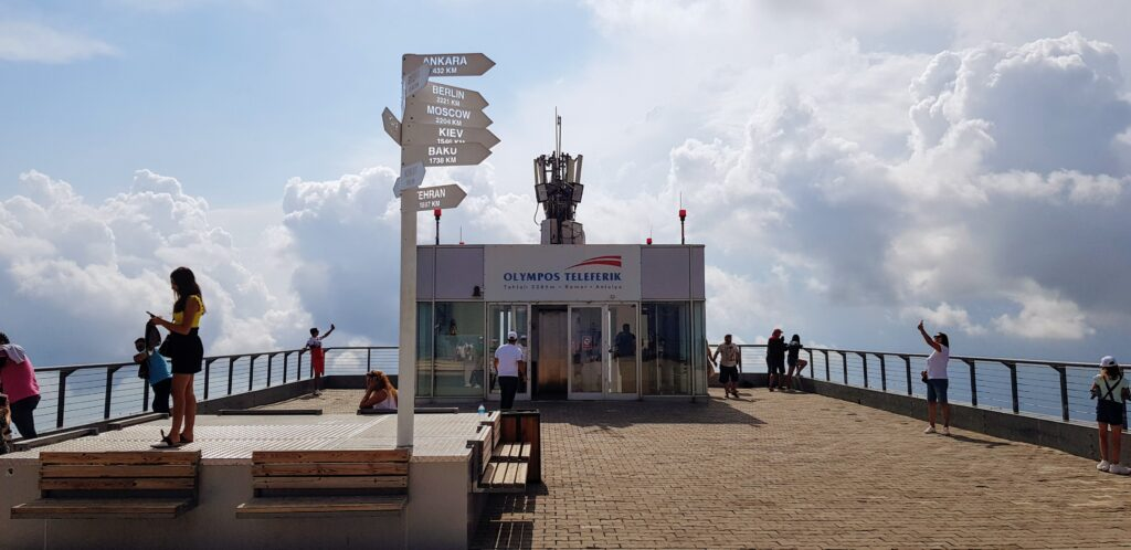 The viewing platform on the roof of the Olympos cable car top station