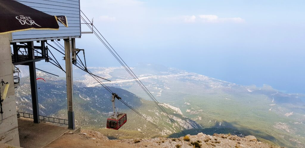Mt Olympos Cable car nearing the top station
