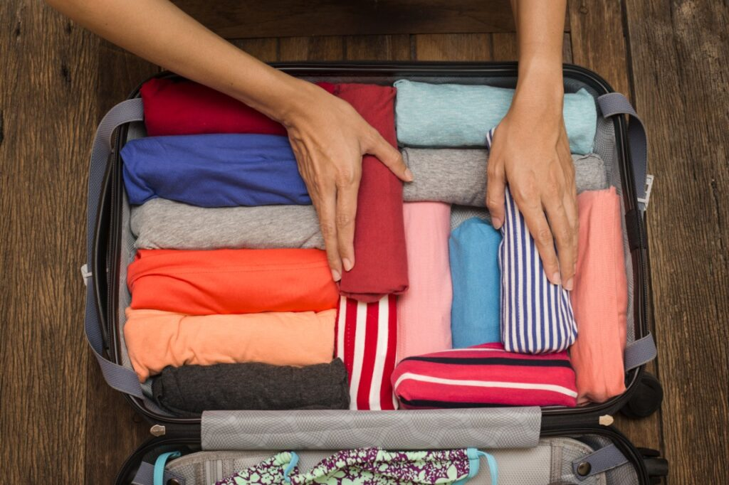 When packing for a ski or snowboard holiday or when you're doing a winter ski or snowboard season, roll your clothes
