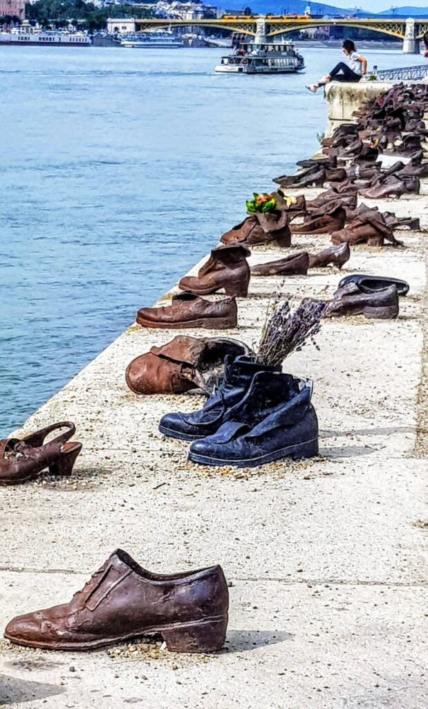 Shoes on the River Danube memorial to the fallen Jews killed by the Arrow Cross militia in Budapest