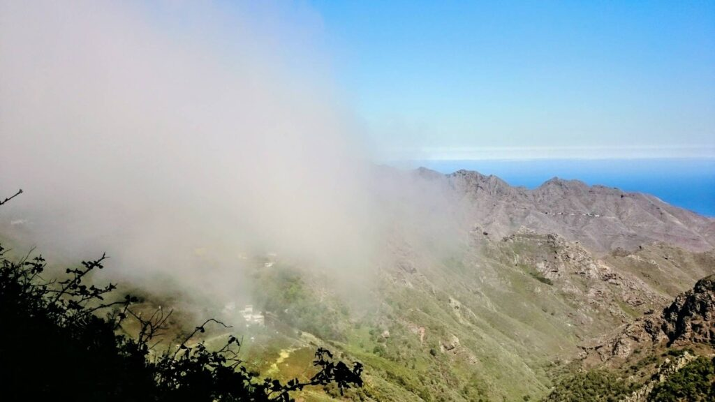 Clouds dissipate as they spill over Anaga ridge Tenerife