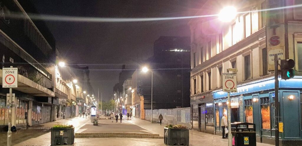 Glasgow city centre during Covid