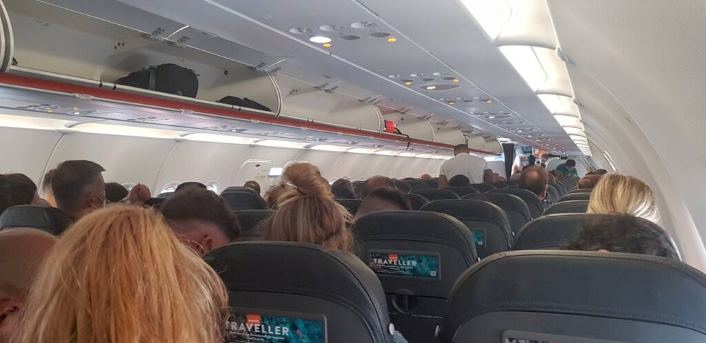 On board a flight during Covid19