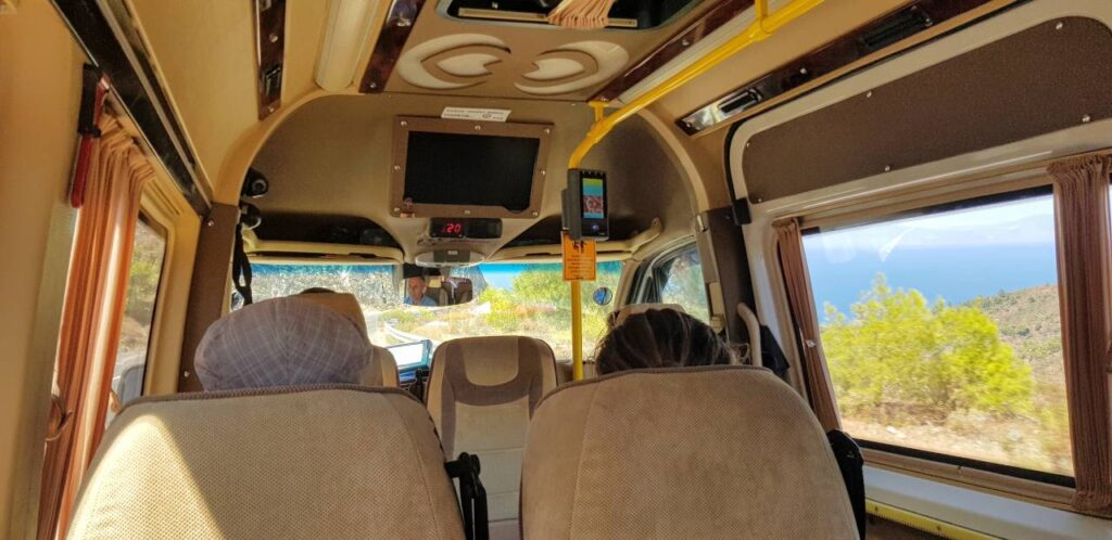 Inside the tiny Datca minibus from Marmaris to Datca