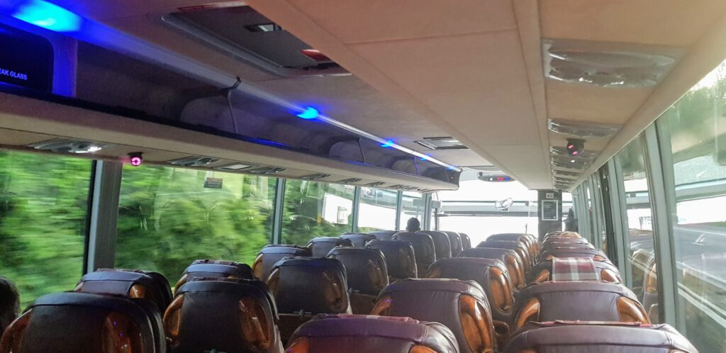 COVID travel A deserted Aberdeen to Glasgow bus service during Coronavirus