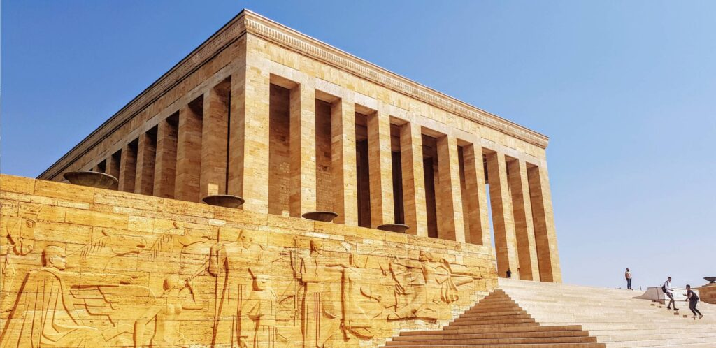 The massive carvings on the walls below Ataturk's mausoleum