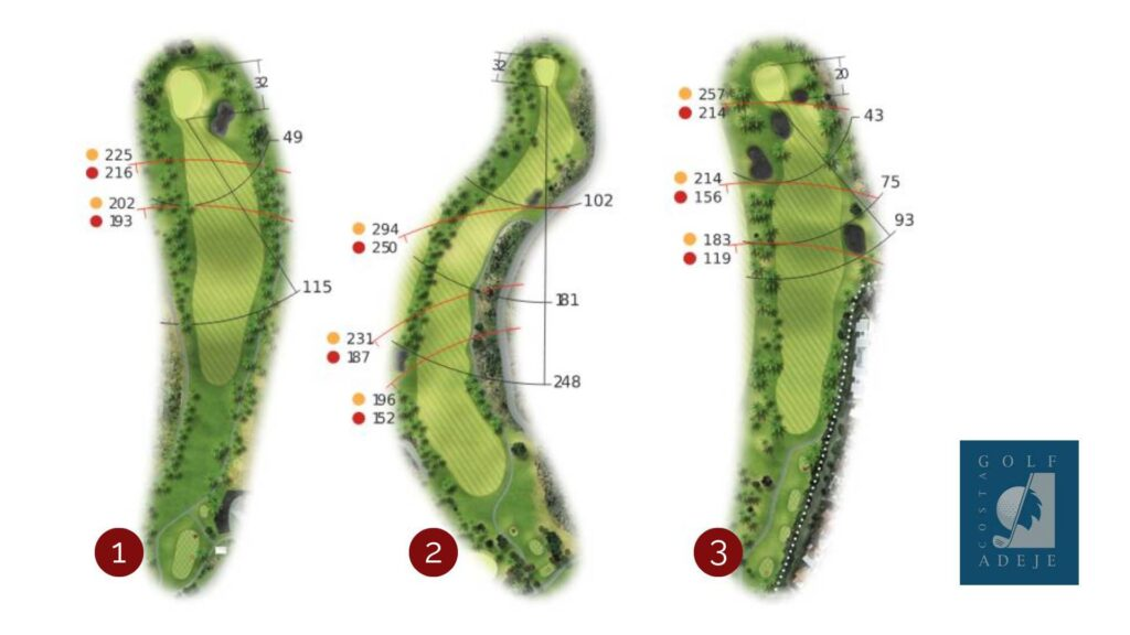 Golf holes one to three at the Los Lagos golf course, Costa Adeje golf resort